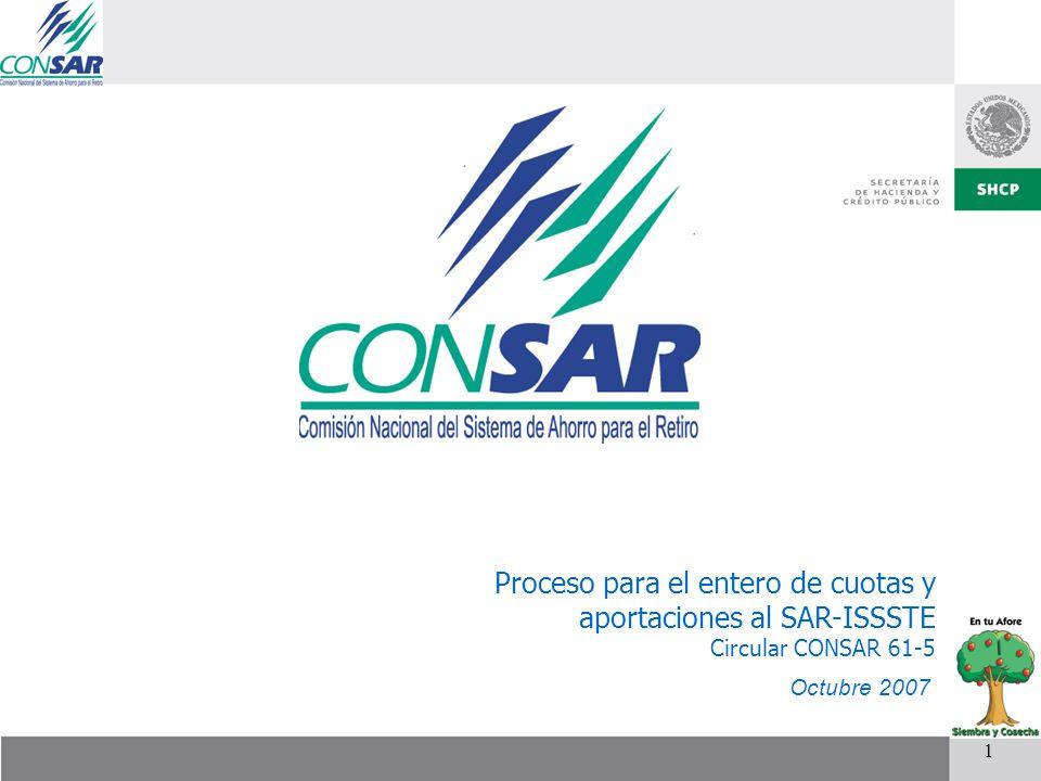 1 Proceso para el entero de cuotas y aportaciones al SAR-ISSSTE Circular CONSAR 61-5 Octubre 2007