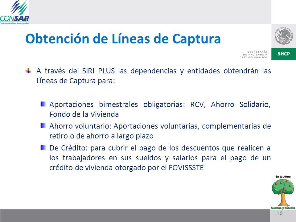 Obtención de Líneas de Captura A través del SIRI PLUS las dependencias y entidades obtendrán las Líneas de Captura para: Aportaciones bimestrales obli