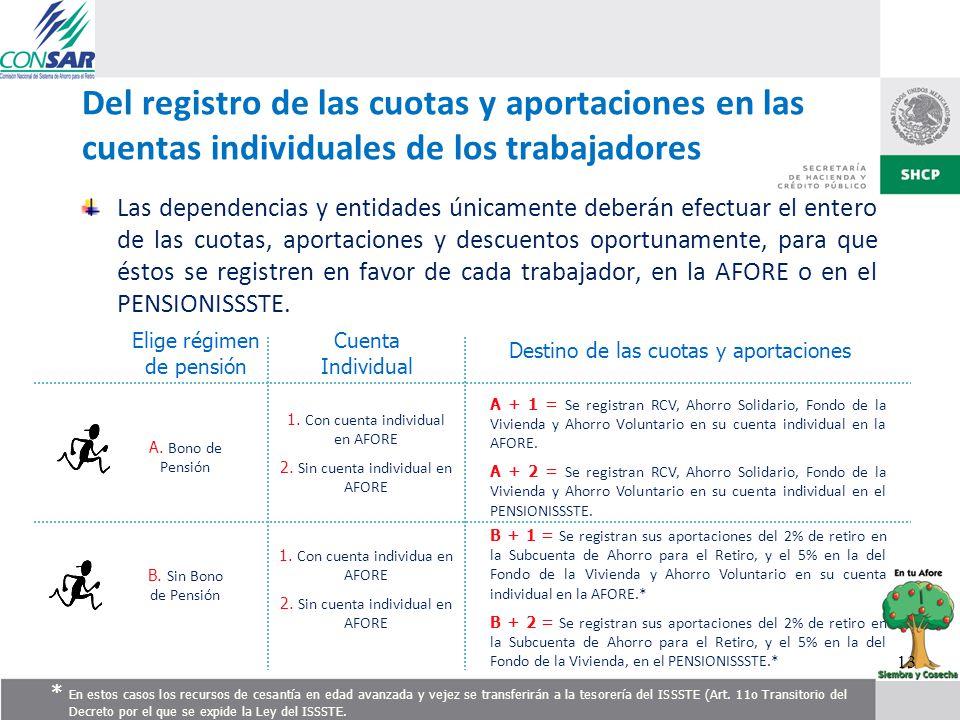 Del registro de las cuotas y aportaciones en las cuentas individuales de los trabajadores Las dependencias y entidades únicamente deberán efectuar el