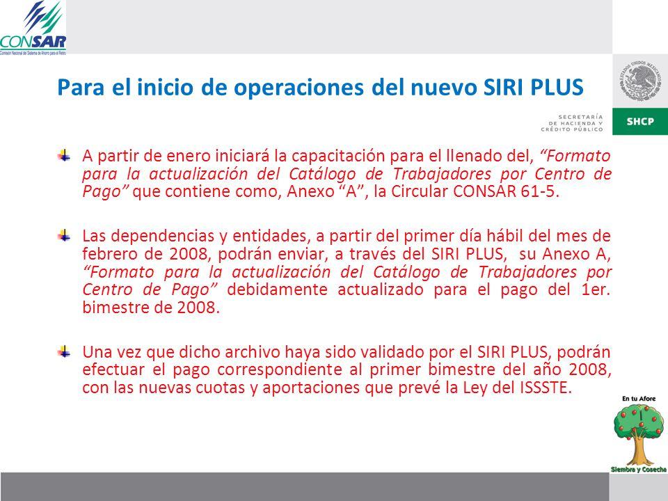 Para el inicio de operaciones del nuevo SIRI PLUS A partir de enero iniciará la capacitación para el llenado del, Formato para la actualización del Ca