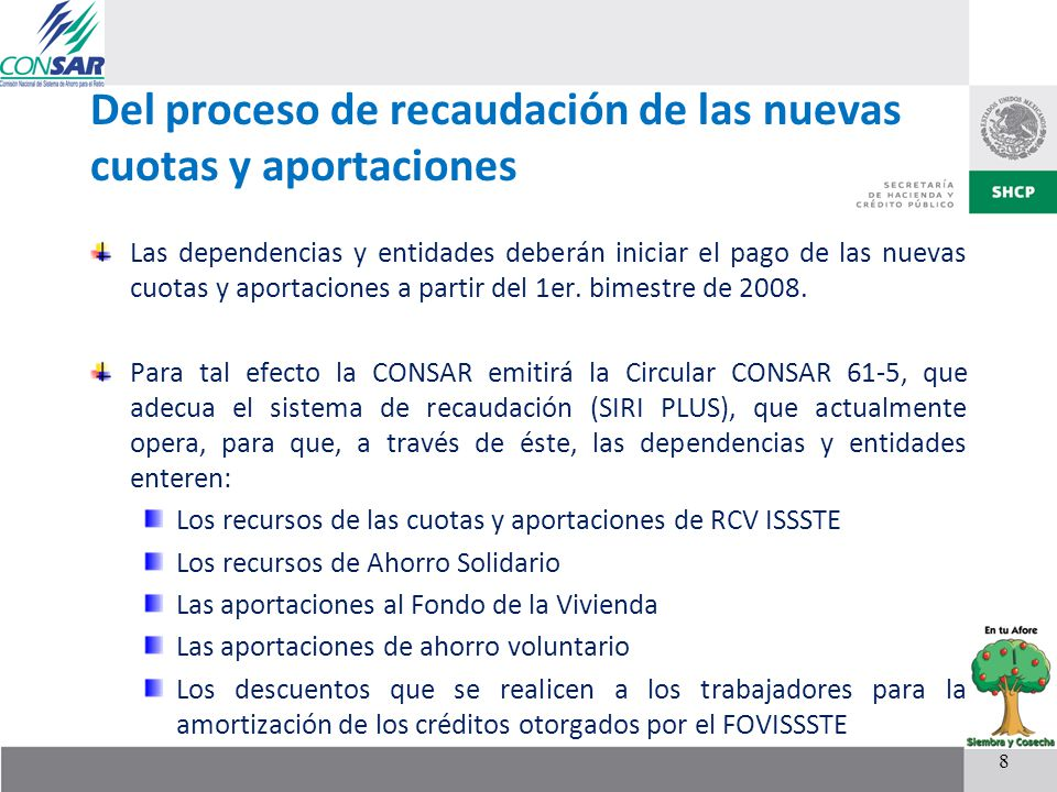 Del proceso de recaudación de las nuevas cuotas y aportaciones Las dependencias y entidades deberán iniciar el pago de las nuevas cuotas y aportacione