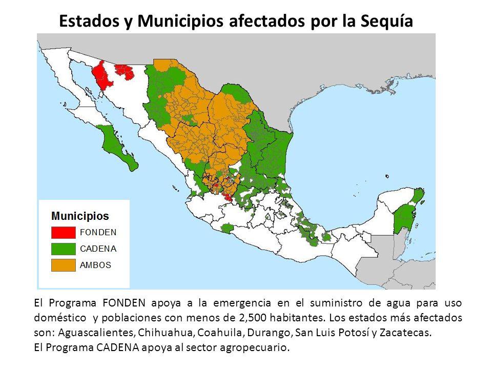 Estados y Municipios afectados por la Sequía El Programa FONDEN apoya a la emergencia en el suministro de agua para uso doméstico y poblaciones con me