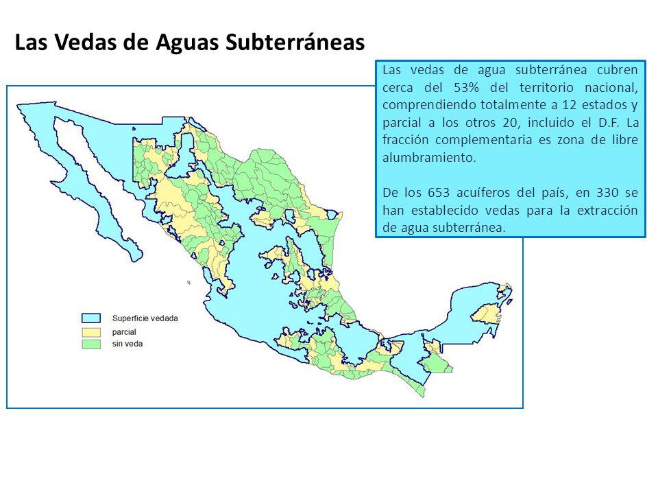 Las vedas de agua subterránea cubren cerca del 53% del territorio nacional, comprendiendo totalmente a 12 estados y parcial a los otros 20, incluido e