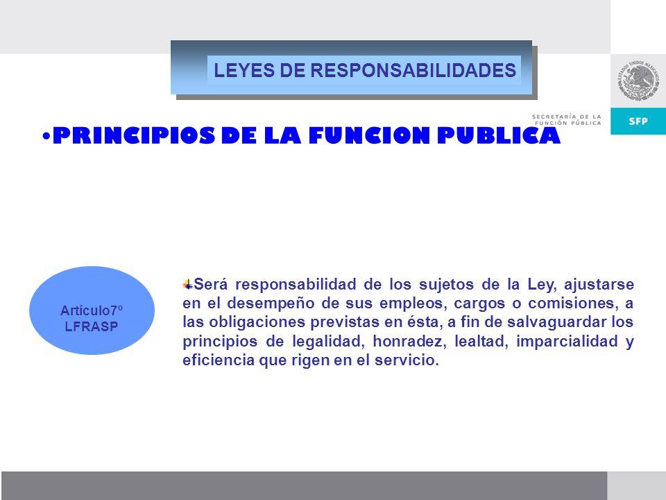 Dirección General de Responsabilidades y Situación Patrimonial Será responsabilidad de los sujetos de la Ley, ajustarse en el desempeño de sus empleos