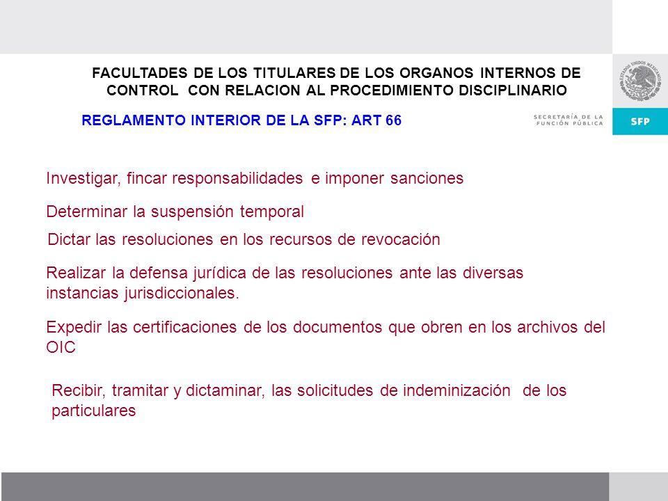 Dirección General de Responsabilidades y Situación Patrimonial FACULTADES DE LOS TITULARES DE LOS ORGANOS INTERNOS DE CONTROL CON RELACION AL PROCEDIM