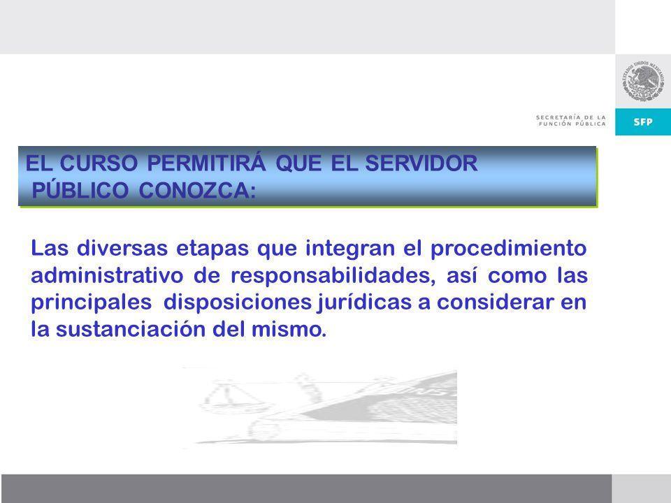 Dirección General de Responsabilidades y Situación Patrimonial EL CURSO PERMITIRÁ QUE EL SERVIDOR PÚBLICO CONOZCA: EL CURSO PERMITIRÁ QUE EL SERVIDOR