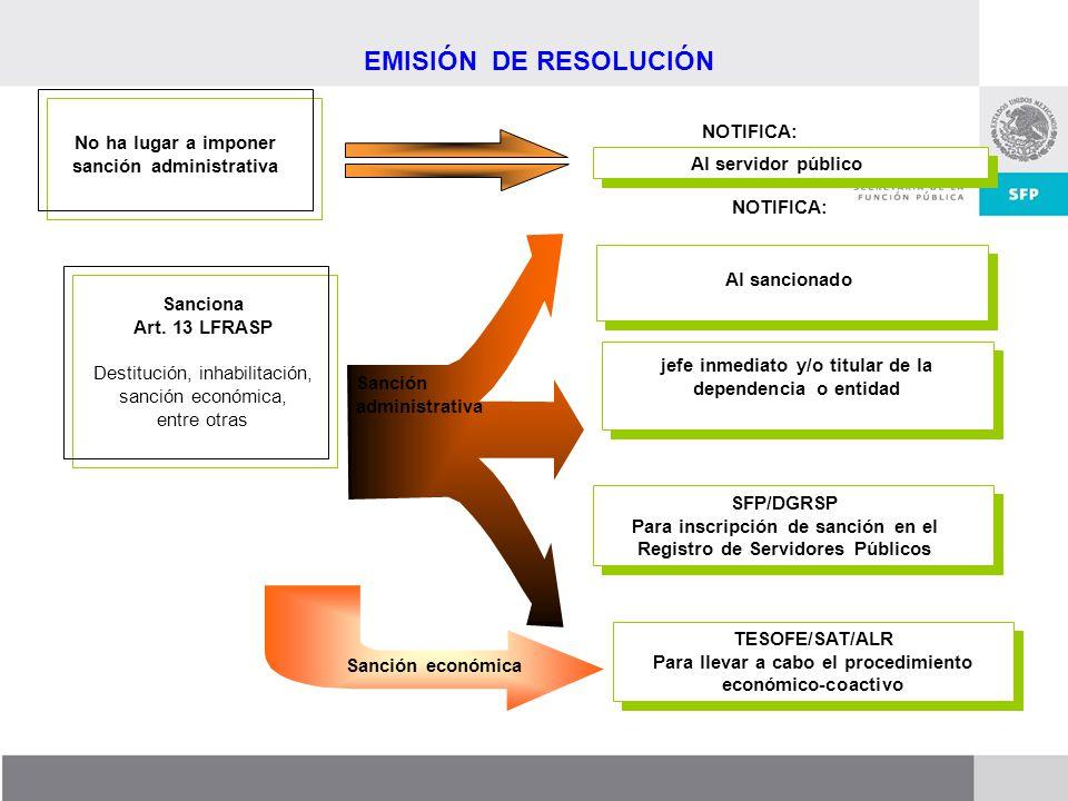 Dirección General de Responsabilidades y Situación Patrimonial TESOFE/SAT/ALR Para llevar a cabo el procedimiento económico-coactivo TESOFE/SAT/ALR Pa