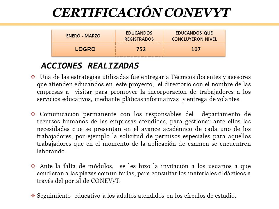 CERTIFICACIÓN CONEVYT ACCIONES REALIZADAS Una de las estrategias utilizadas fue entregar a Técnicos docentes y asesores que atienden educandos en este