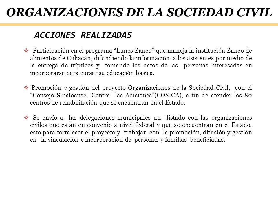 ACCIONES REALIZADAS Participación en el programa Lunes Banco que maneja la institución Banco de alimentos de Culiacán, difundiendo la información a lo