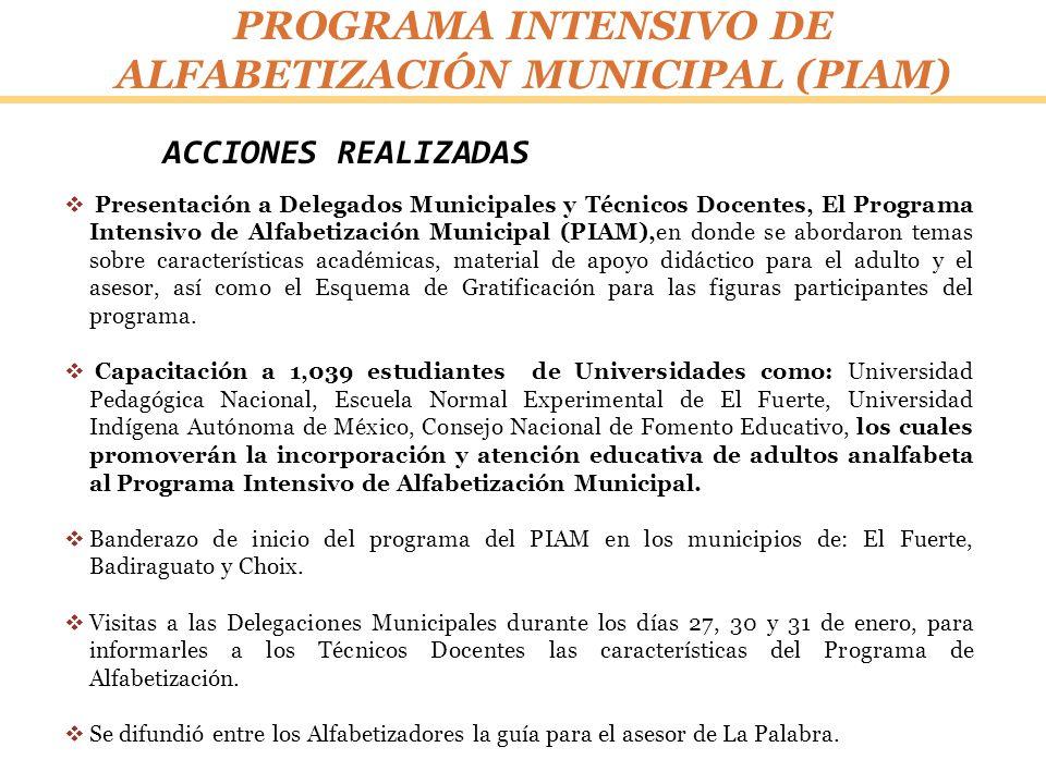 ACCIONES REALIZADAS PROGRAMA INTENSIVO DE ALFABETIZACIÓN MUNICIPAL (PIAM) Presentación a Delegados Municipales y Técnicos Docentes, El Programa Intens