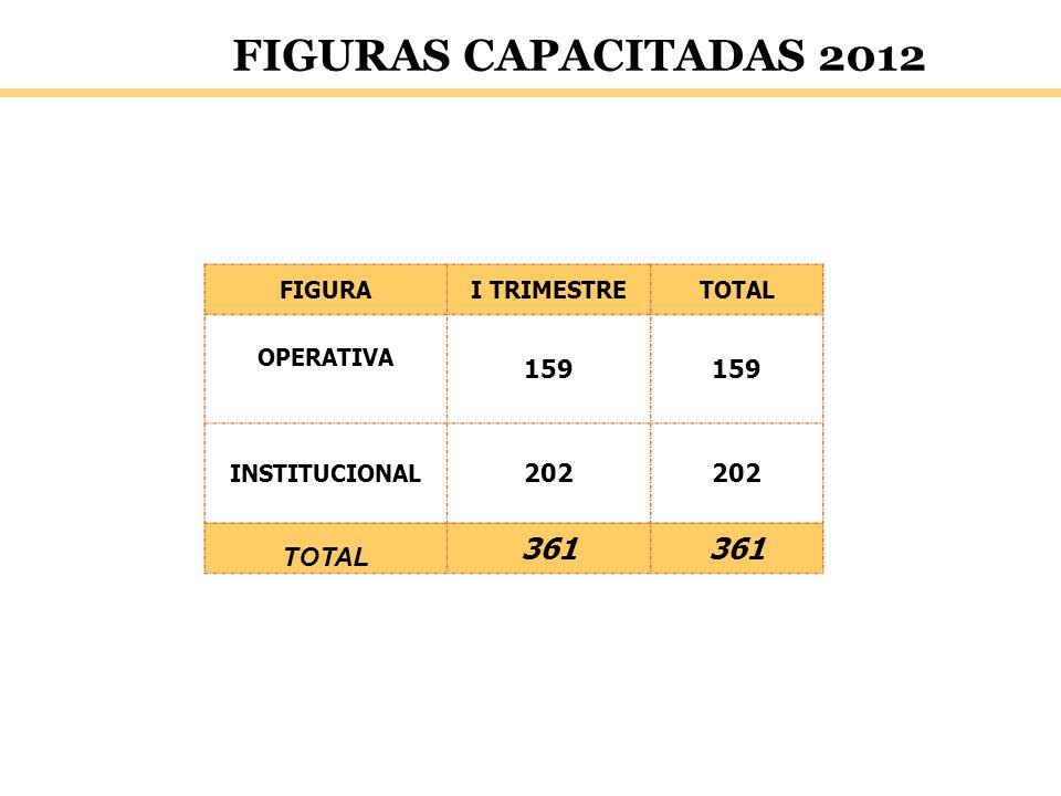 FIGURAS CAPACITADAS 2012 FIGURAI TRIMESTRETOTAL OPERATIVA 159 INSTITUCIONAL 202 TOTAL 361