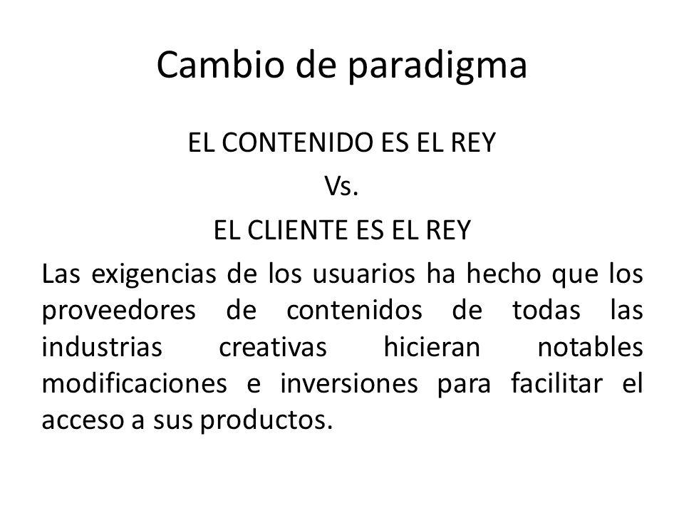 Cambio de paradigma EL CONTENIDO ES EL REY Vs.