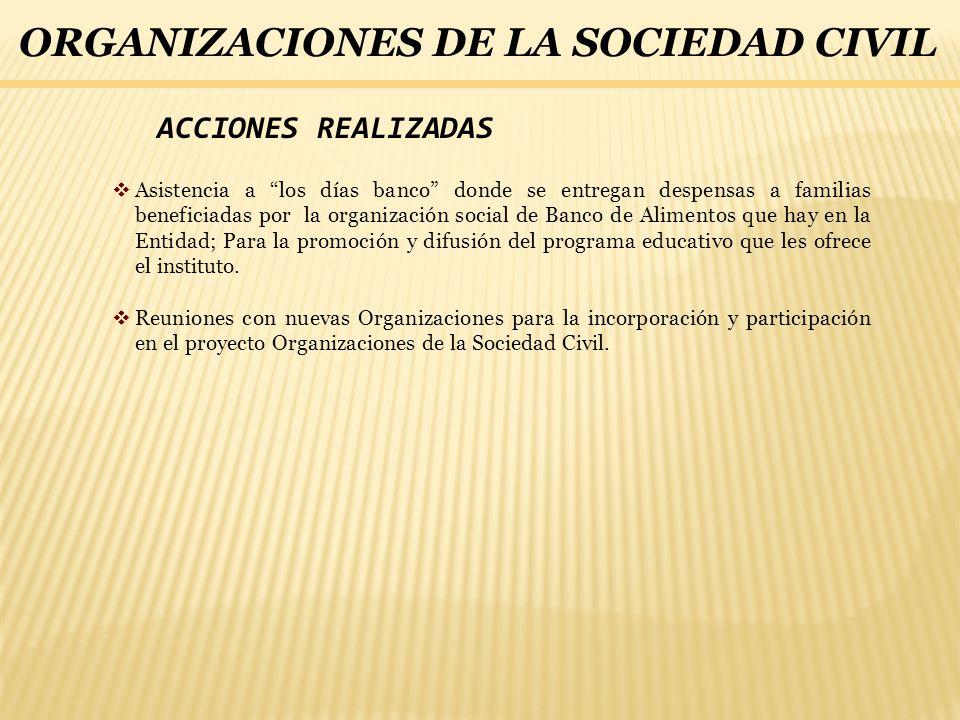ACCIONES REALIZADAS Asistencia a los días banco donde se entregan despensas a familias beneficiadas por la organización social de Banco de Alimentos q