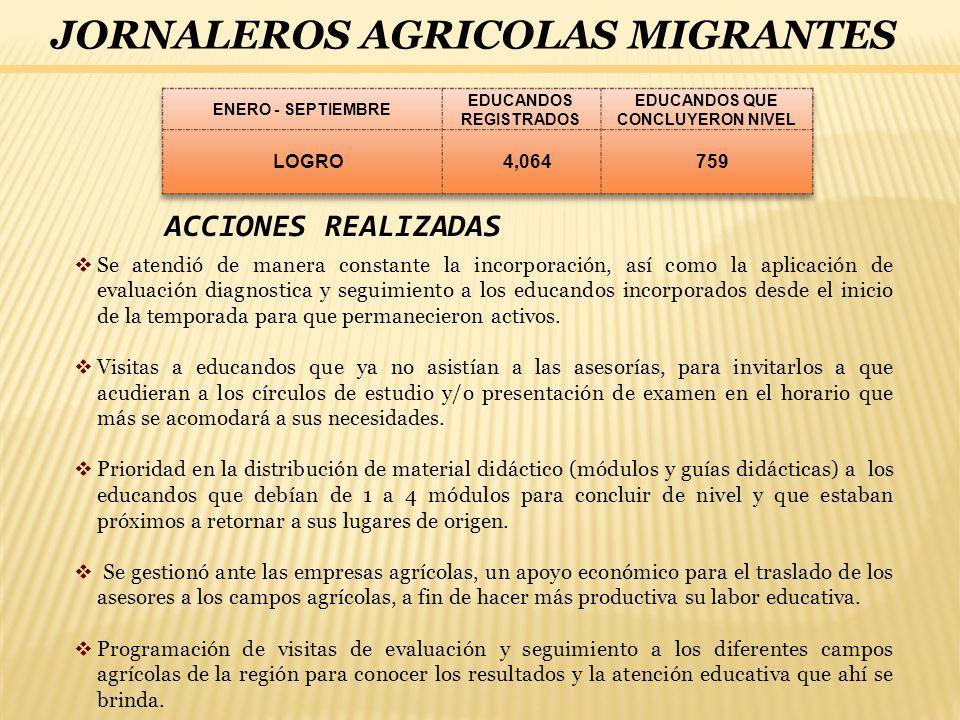 JORNALEROS AGRICOLAS MIGRANTES ACCIONES REALIZADAS Se atendió de manera constante la incorporación, así como la aplicación de evaluación diagnostica y