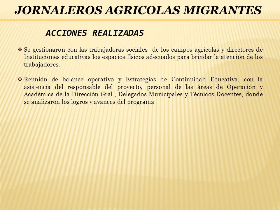 ACCIONES REALIZADAS Se gestionaron con las trabajadoras sociales de los campos agrícolas y directores de Instituciones educativas los espacios físicos
