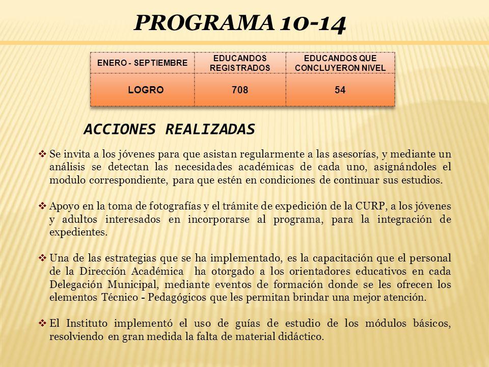 PROGRAMA 10-14 ACCIONES REALIZADAS Se invita a los jóvenes para que asistan regularmente a las asesorías, y mediante un análisis se detectan las neces