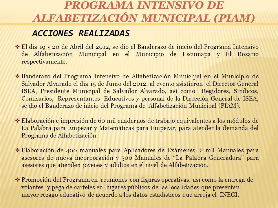 PROGRAMA INTENSIVO DE ALFABETIZACIÓN MUNICIPAL (PIAM) ACCIONES REALIZADAS El día 19 y 20 de Abril del 2012, se dio el Banderazo de inicio del Programa