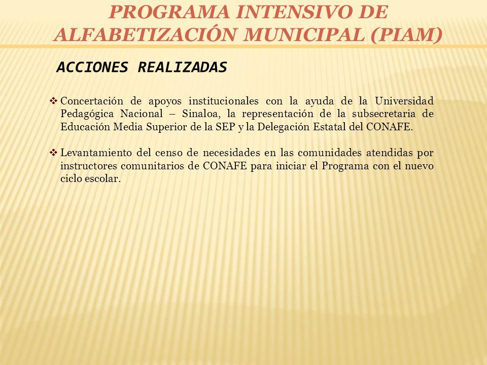 ACCIONES REALIZADAS Concertación de apoyos institucionales con la ayuda de la Universidad Pedagógica Nacional – Sinaloa, la representación de la subse