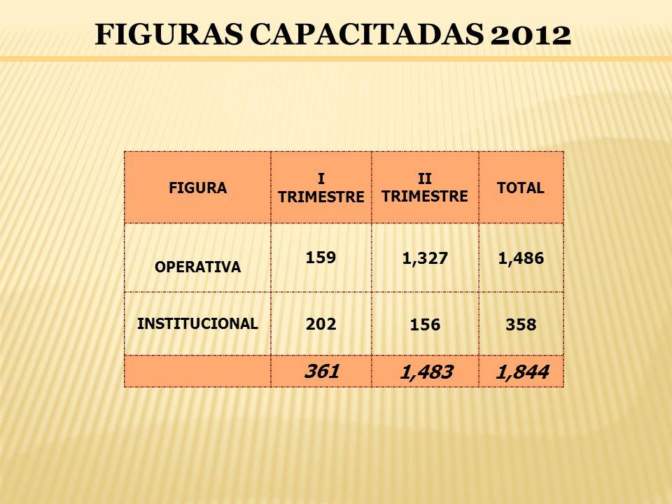 FIGURAS CAPACITADAS 2012 FIGURA I TRIMESTRE II TRIMESTRE TOTAL OPERATIVA 1591,3271,486 INSTITUCIONAL 202156358 3611,4831,844