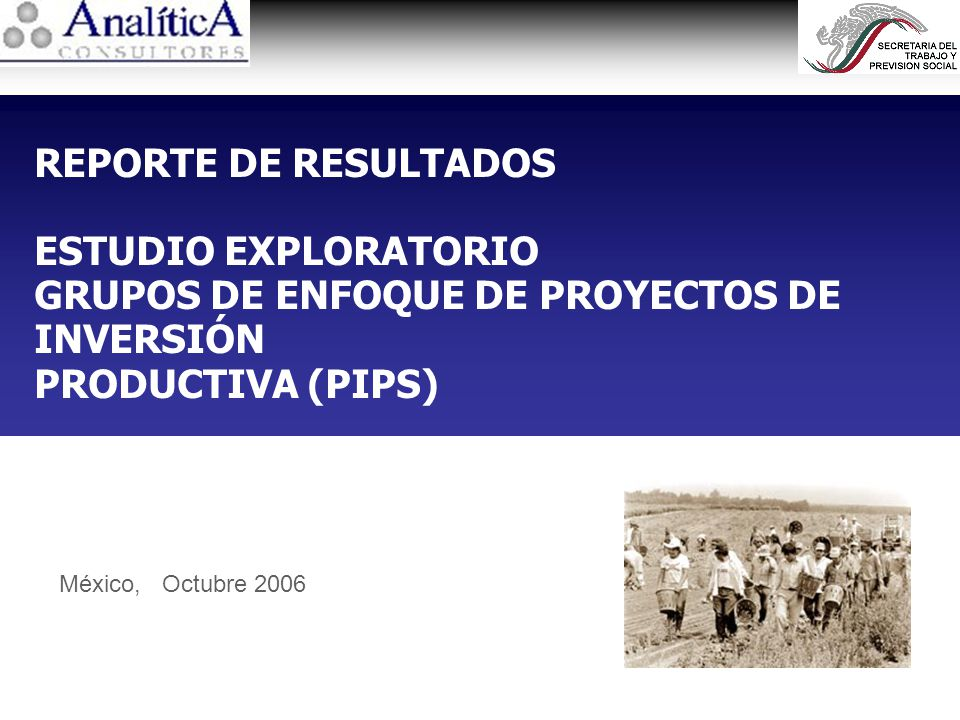 REPORTE DE RESULTADOS ESTUDIO EXPLORATORIO GRUPOS DE ENFOQUE DE PROYECTOS DE INVERSIÓN PRODUCTIVA (PIPS) México, Octubre 2006
