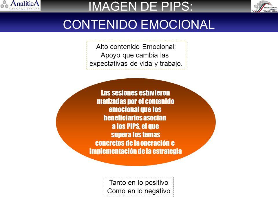 IMAGEN DE PIPS: CONTENIDO EMOCIONAL Alto contenido Emocional: Apoyo que cambia las expectativas de vida y trabajo.