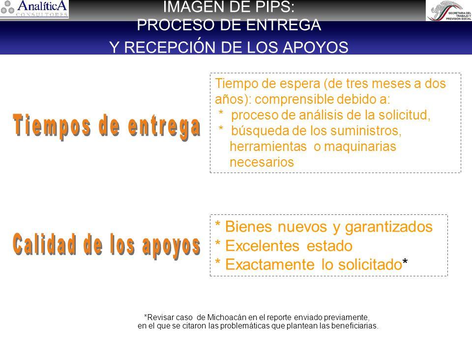 IMAGEN DE PIPS: PROCESO DE ENTREGA Y RECEPCI Ó N DE LOS APOYOS Tiempo de espera (de tres meses a dos años): comprensible debido a: * proceso de análisis de la solicitud, * búsqueda de los suministros, herramientas o maquinarias necesarios * Bienes nuevos y garantizados * Excelentes estado * Exactamente lo solicitado* *Revisar caso de Michoacán en el reporte enviado previamente, en el que se citaron las problemáticas que plantean las beneficiarias.