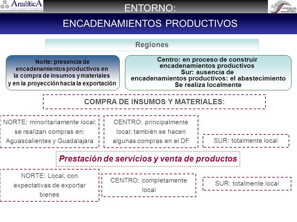 Regiones Norte: presencia de encadenamientos productivos en la compra de insumos y materiales y en la proyección hacia la exportación Centro: en proceso de construir encadenamientos productivos Sur: ausencia de encadenamientos productivos: el abastecimiento Se realiza localmente NORTE: minoritariamente local; se realizan compras en: Aguascalientes y Guadalajara CENTRO: principalmente local; también se hacen algunas compras en el DF ENTORNO: ENCADENAMIENTOS PRODUCTIVOS SUR: totalmente local Prestación de servicios y venta de productos NORTE: Local, con expectativas de exportar bienes CENTRO: completamente local SUR: totalmente local COMPRA DE INSUMOS Y MATERIALES: