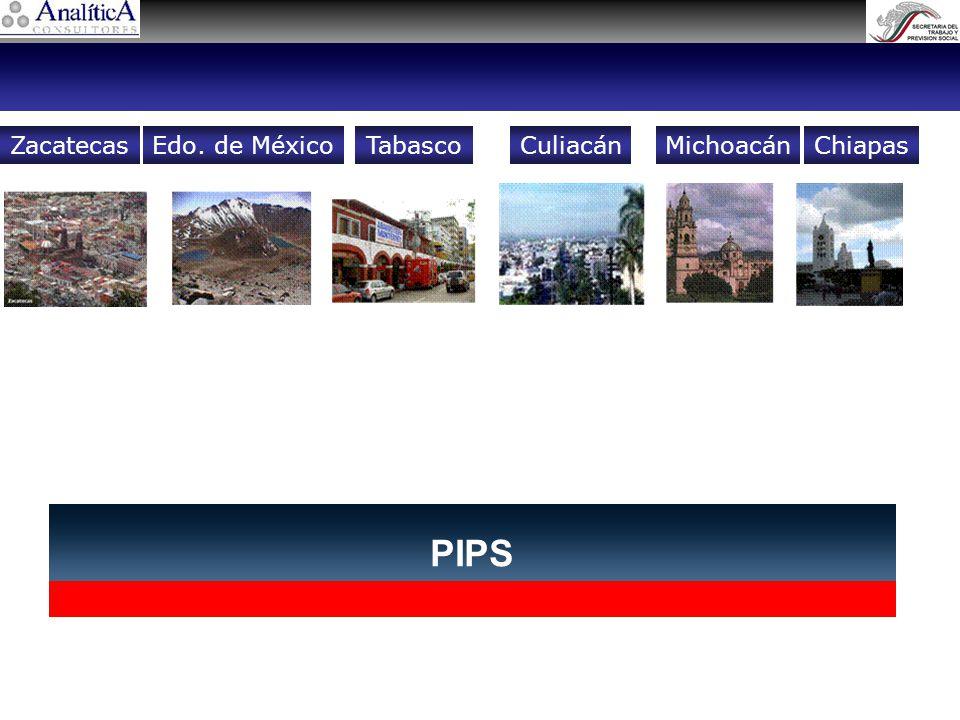 PIPS ZacatecasCuliacánEdo. de MéxicoTabascoChiapasMichoacán