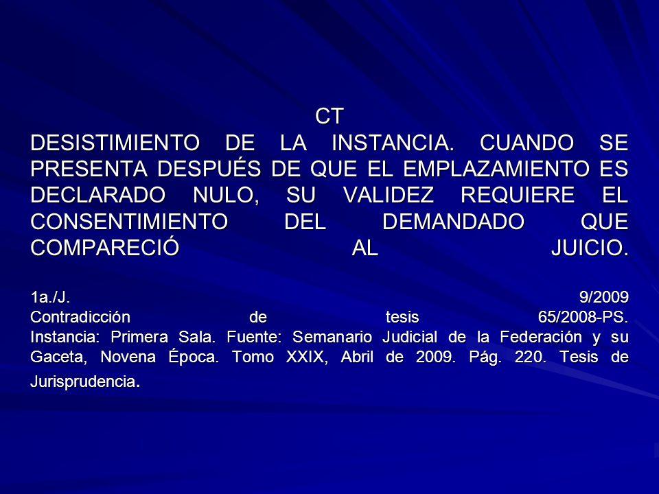 CT DESISTIMIENTO DE LA INSTANCIA.