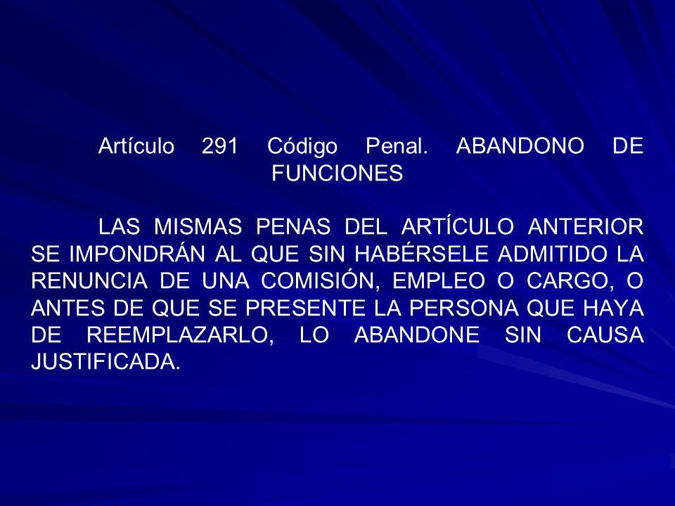 Artículo 291 Código Penal.