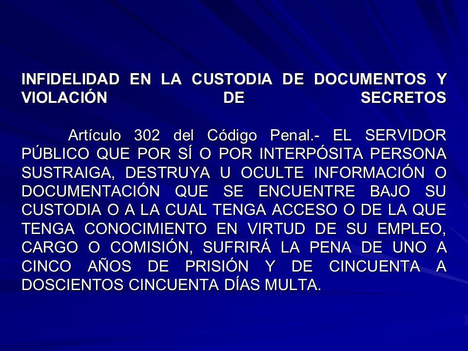 INFIDELIDAD EN LA CUSTODIA DE DOCUMENTOS Y VIOLACIÓN DE SECRETOS Artículo 302 del Código Penal.- EL SERVIDOR PÚBLICO QUE POR SÍ O POR INTERPÓSITA PERSONA SUSTRAIGA, DESTRUYA U OCULTE INFORMACIÓN O DOCUMENTACIÓN QUE SE ENCUENTRE BAJO SU CUSTODIA O A LA CUAL TENGA ACCESO O DE LA QUE TENGA CONOCIMIENTO EN VIRTUD DE SU EMPLEO, CARGO O COMISIÓN, SUFRIRÁ LA PENA DE UNO A CINCO AÑOS DE PRISIÓN Y DE CINCUENTA A DOSCIENTOS CINCUENTA DÍAS MULTA.
