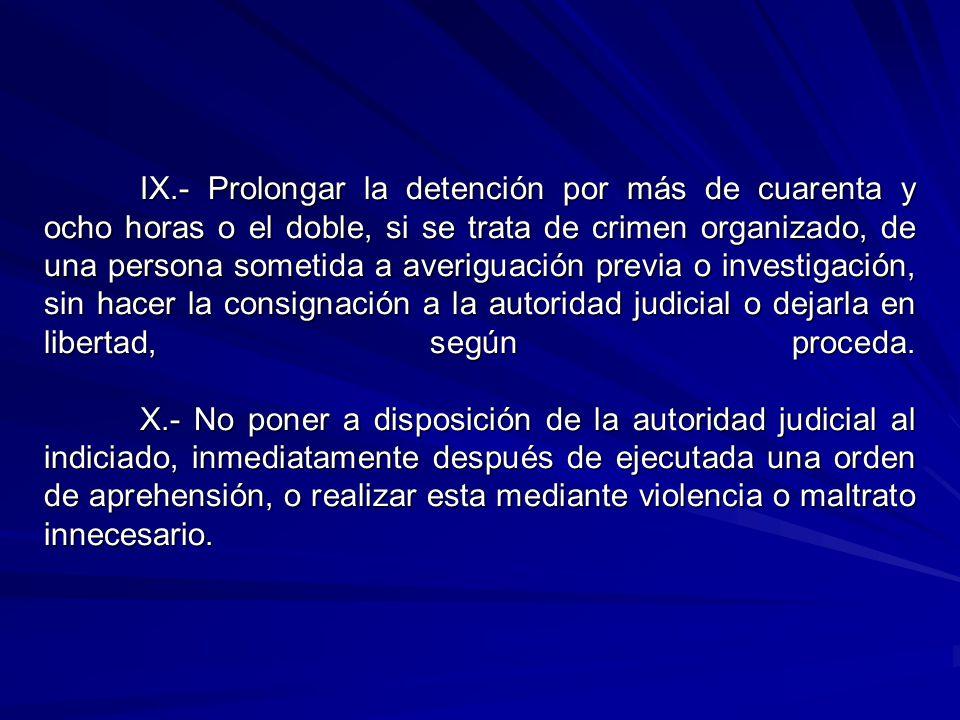 IX.- Prolongar la detención por más de cuarenta y ocho horas o el doble, si se trata de crimen organizado, de una persona sometida a averiguación prev