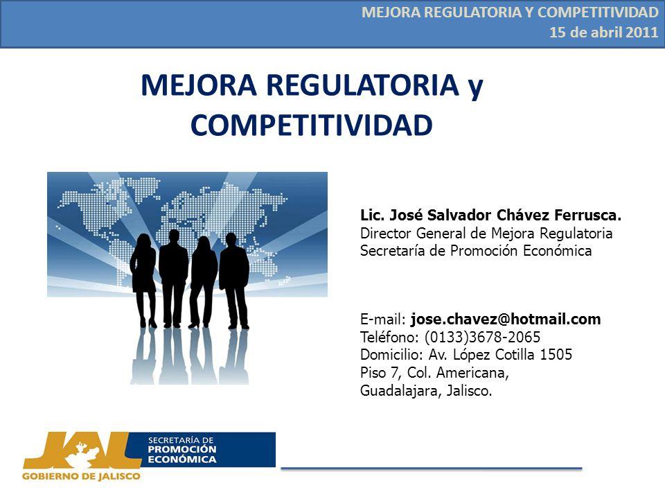 MEJORA REGULATORIA Y COMPETITIVIDAD 15 de abril 2011 MEJORA REGULATORIA y COMPETITIVIDAD Lic.