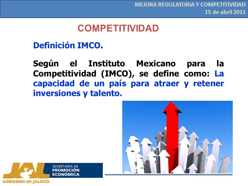 COMPETITIVIDAD MEJORA REGULATORIA Y COMPETITIVIDAD 15 de abril 2011 Definición IMCO.