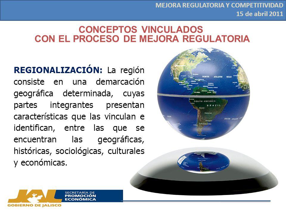 REGIONALIZACIÓN: La región consiste en una demarcación geográfica determinada, cuyas partes integrantes presentan características que las vinculan e identifican, entre las que se encuentran las geográficas, históricas, sociológicas, culturales y económicas.