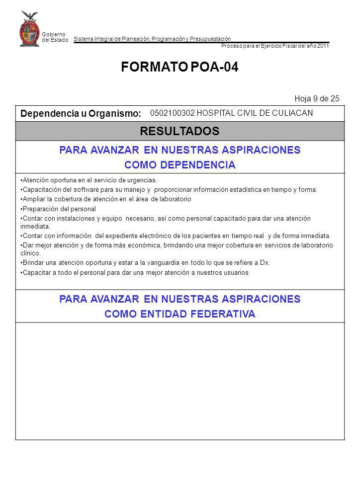 Sistema Integral de Planeación, Programación y Presupuestación Proceso para el Ejercicio Fiscal del año 2011 Gobierno del Estado FORMATO POA-04 Hoja 9