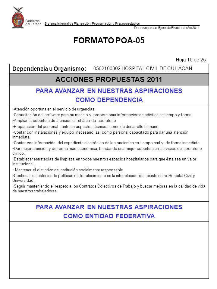 Sistema Integral de Planeación, Programación y Presupuestación Proceso para el Ejercicio Fiscal del año 2011 Gobierno del Estado FORMATO POA-05 Hoja 1