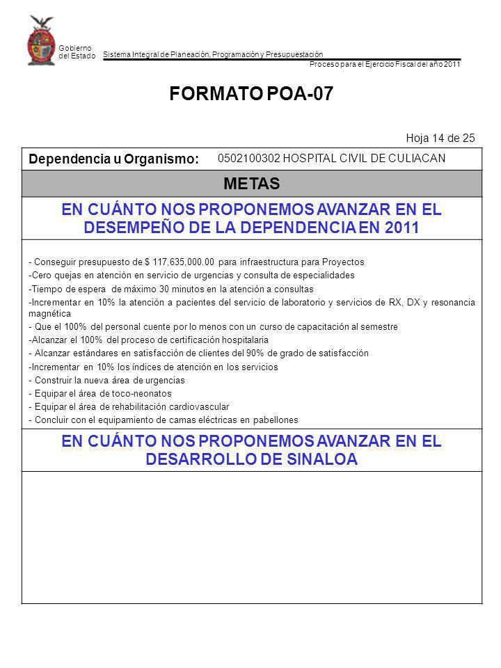 Sistema Integral de Planeación, Programación y Presupuestación Proceso para el Ejercicio Fiscal del año 2011 Gobierno del Estado FORMATO POA-07 Hoja 1
