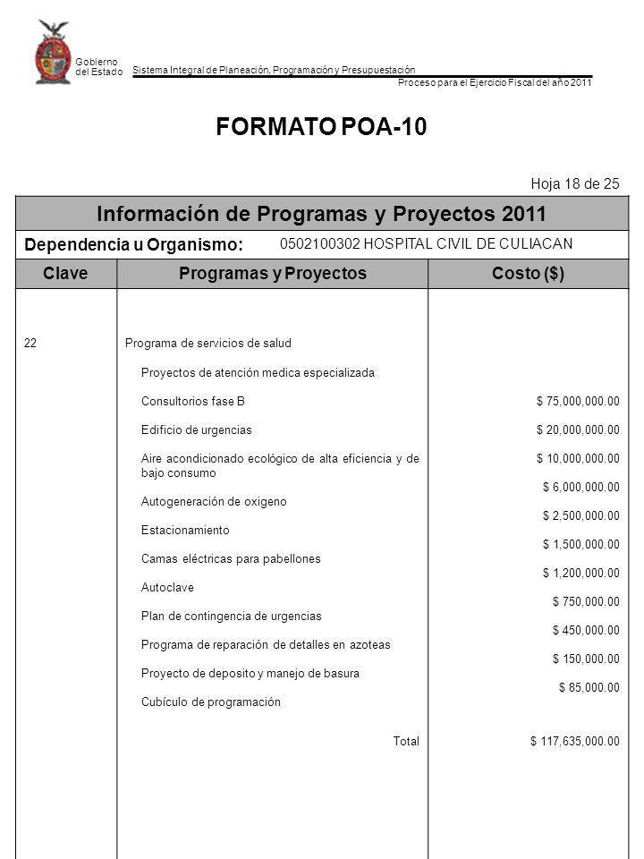 Sistema Integral de Planeación, Programación y Presupuestación Proceso para el Ejercicio Fiscal del año 2011 Gobierno del Estado FORMATO POA-10 Hoja 1