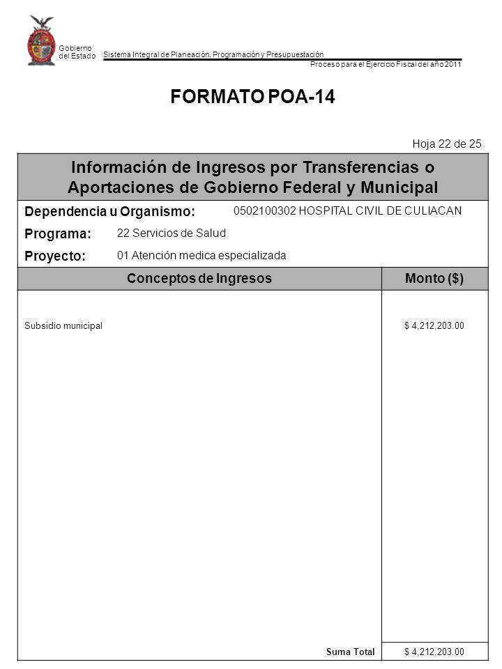 Sistema Integral de Planeación, Programación y Presupuestación Proceso para el Ejercicio Fiscal del año 2011 Gobierno del Estado FORMATO POA-14 Hoja 2