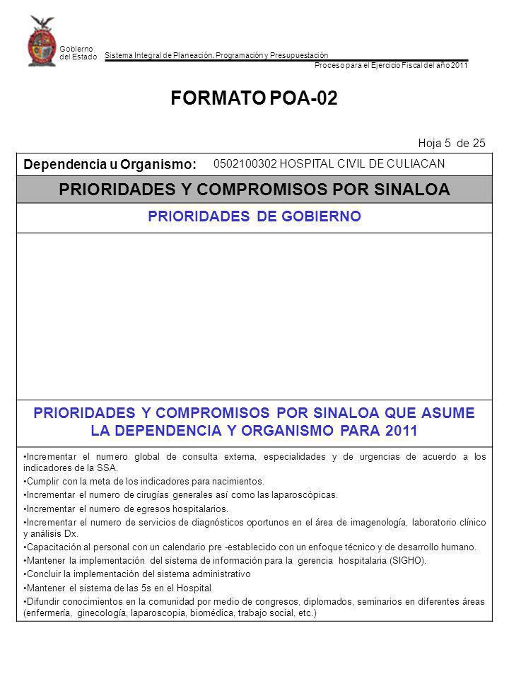 Sistema Integral de Planeación, Programación y Presupuestación Proceso para el Ejercicio Fiscal del año 2011 Gobierno del Estado FORMATO POA-02 Hoja 5