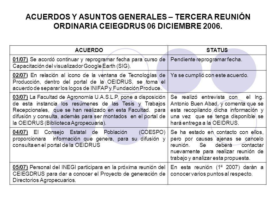 ACUERDOS Y ASUNTOS GENERALES – TERCERA REUNIÓN ORDINARIA CEIEGDRUS 06 DICIEMBRE 2006.