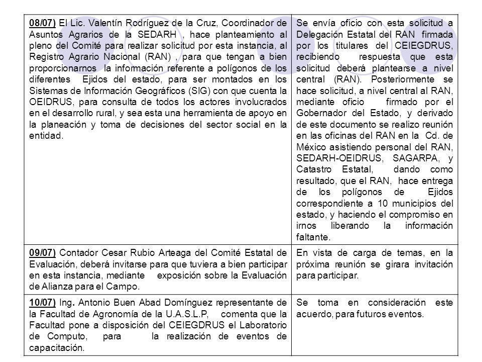 08/07) El Lic.