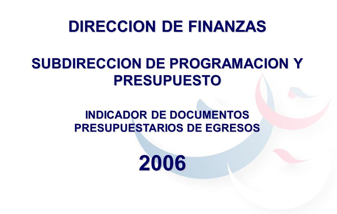 DIRECCION DE FINANZAS SUBDIRECCION DE PROGRAMACION Y PRESUPUESTO INDICADOR DE DOCUMENTOS PRESUPUESTARIOS DE EGRESOS 2006
