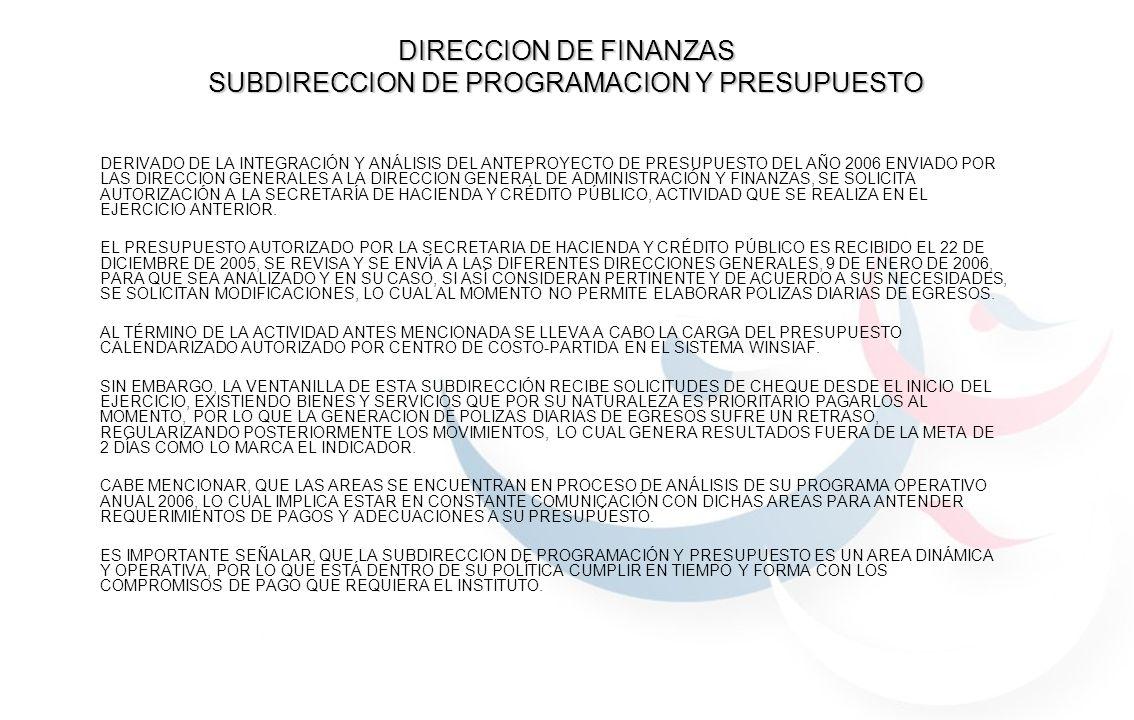 DIRECCION DE FINANZAS SUBDIRECCION DE PROGRAMACION Y PRESUPUESTO DERIVADO DE LA INTEGRACIÓN Y ANÁLISIS DEL ANTEPROYECTO DE PRESUPUESTO DEL AÑO 2006 ENVIADO POR LAS DIRECCION GENERALES A LA DIRECCION GENERAL DE ADMINISTRACIÓN Y FINANZAS, SE SOLICITA AUTORIZACIÓN A LA SECRETARÍA DE HACIENDA Y CRÉDITO PÚBLICO, ACTIVIDAD QUE SE REALIZA EN EL EJERCICIO ANTERIOR.