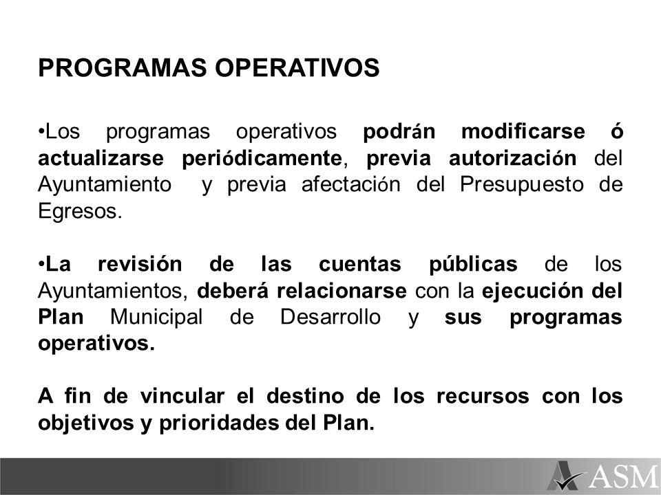 PROGRAMAS OPERATIVOS Los programas operativos podr á n modificarse ó actualizarse peri ó dicamente, previa autorizaci ó n del Ayuntamiento y previa af