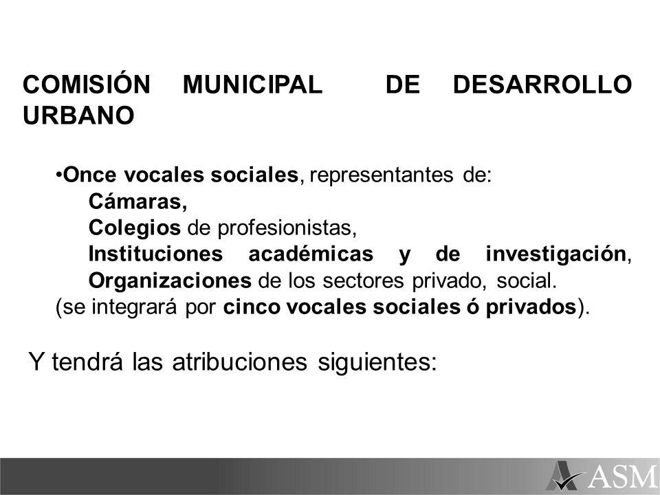 COMISIÓN MUNICIPAL DE DESARROLLO URBANO Once vocales sociales, representantes de: Cámaras, Colegios de profesionistas, Instituciones académicas y de i