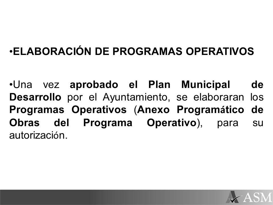 ELABORACIÓN DE PROGRAMAS OPERATIVOS Una vez aprobado el Plan Municipal de Desarrollo por el Ayuntamiento, se elaboraran los Programas Operativos (Anex