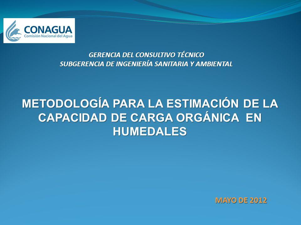 METODOLOGÍA PARA LA ESTIMACIÓN DE LA CAPACIDAD DE CARGA ORGÁNICA EN HUMEDALES MAYO DE 2012 GERENCIA DEL CONSULTIVO TÉCNICO SUBGERENCIA DE INGENIERÍA S