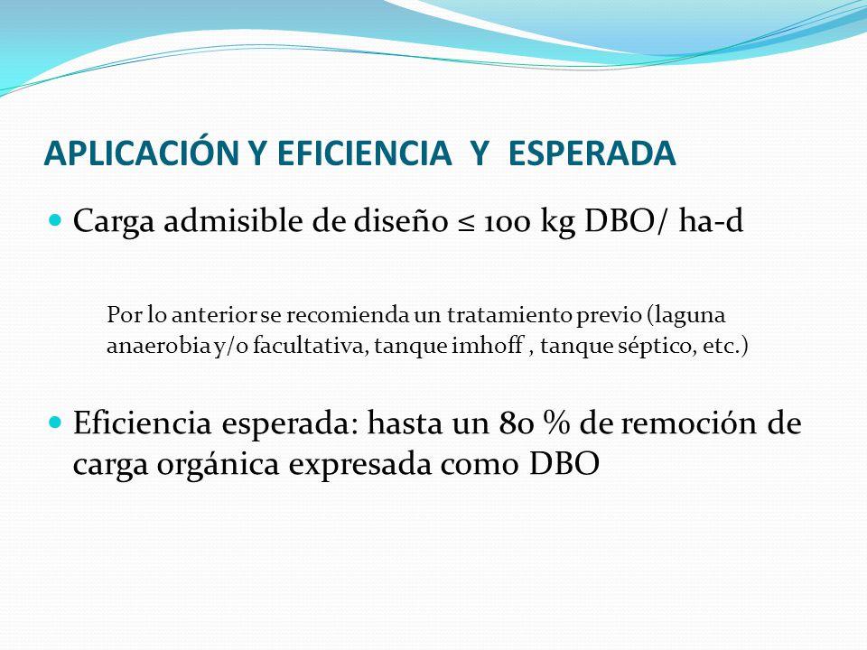 APLICACIÓN Y EFICIENCIA Y ESPERADA Carga admisible de diseño 100 kg DBO/ ha-d Por lo anterior se recomienda un tratamiento previo (laguna anaerobia y/